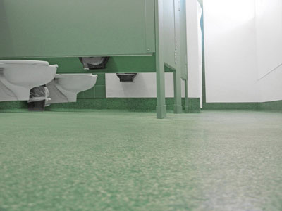 Easy to clean commercial bathroom flooring