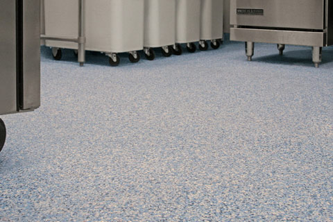 Seamless commercial kitchen flooring